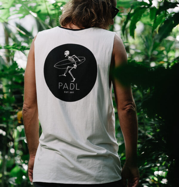 Rocker Tanktop from the back with PADL Logo